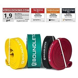 Der mehrfache Testsieger: Resistance Band mit gedruckter Anleitung - Fitnessband für Crossfit und Calisthenics - Klimmzugband / Widerstandsband in verschiedenen Stärken zum effektiven Muskelaufbau