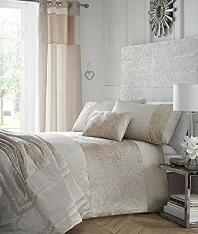 KING SIZE LUXURY DUVET SETS Crushed Velvet & Faux Silk Bedding (Duvet Set + Cushion + Throw, Oyster)