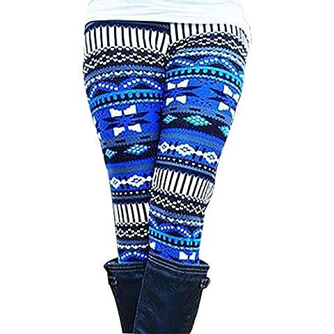 Xmas Casual Women Skinny Deer Imprimer Stretchy Pantalons Slim Leggings (Taille:L, Bleu)