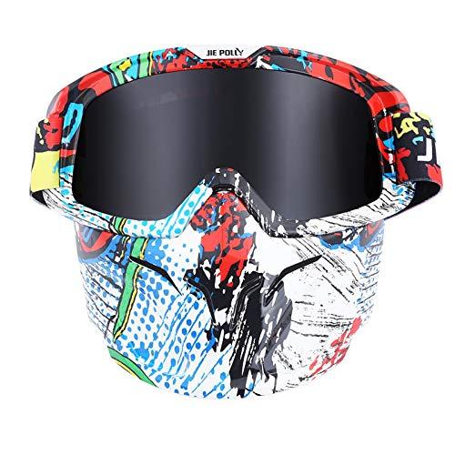 Sportbrille Transparent Motocross Spiegel Spiegel Retro Schutzbrillen Maskenbrillen Helm Winddichte Brillen Gray A03 Damen Herren