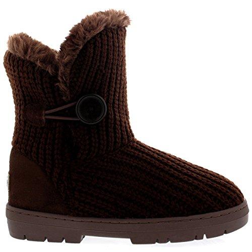 Damen Schuhe Single Knopf Fell Schnee Regen Stiefel Winter Fur Boots Braun Gestrickt