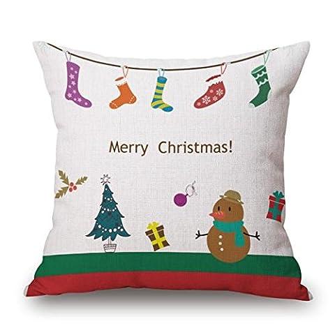 gillberry Weihnachten Leinen Quadratisch Überwurf Flachs Kissen Fall dekorative Kissenbezug, Leinen-Mischgewebe, Beige D, Einheitsgröße