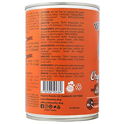 The Witty Dog 100% Organic Wet Dog Food, Complete Menu: Duck With Pumpkin, Tins 6x400 Gr. (Puppy, Adult, Senior Dogs) 4