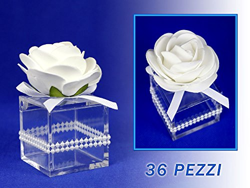 Vetrineinrete scatoline portaconfetti 36 pezzi per matrimonio comunione scatole per confetti bomboniere segnaposto in plastica plexiglass trasparenti decorate quadrato o rotondo (quadrato) m63