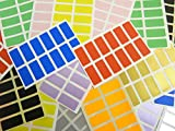 "25x12mm (1"" x 0.5"") Rectangular Mixed Coloured Colour Sticky Labels, Colour Code Stickers - 10 Colours (240)"