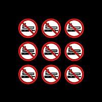 USSP&S 9x No Smoking No Vaping Sticker Sign 50x50mm - Vinyl Decal, Car, Van, Taxi, Lorry, Business