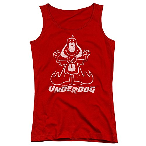 Underdog 1960's Animated TV Series Vinatage Style Outline Juniors Tank Top Shirt