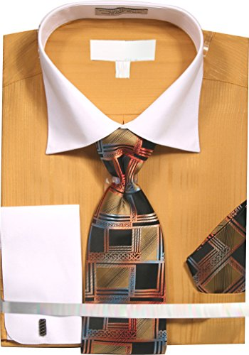 Tan Stripe Shirt (Sunrise Outlet Men's Variegated Satin Stripe Dress Shirt With Tie and Hanky - Tan 16.5 36-37)