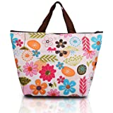 Pixnor Portable Colorful Flowers Pattern Lunchbox Bag Lunch Tote Insulated Cooler Bag Carry Bag for Travel / Picnic One Direction Vertical Lunch Bag