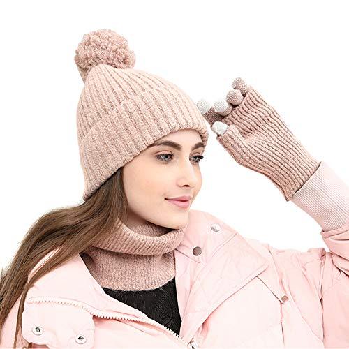 Amorar Wintermütze Strickmütze Beanie Mütze Schal Handschuh-Sets Snow Skull Cap Infinity Schals Wollmütze Earflap Hut Kappe Schnee Hüte Touchscreen Handschuhe für Frauen,EINWEG Verpackung -