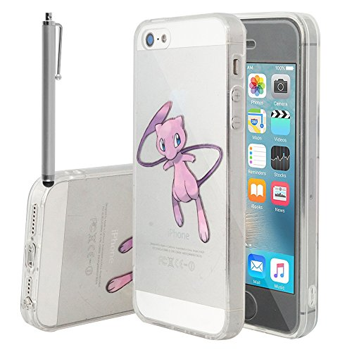 VCOMP® Transparente Silikon TPU Handy Schutzhülle mit Motiv Cartoon Disney für Apple iPhone 5/ 5S/ SE - Winnie the Pooh Mew + Großer Eingabestift