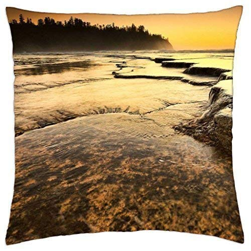 KLYDH Rocky sea Shore at Sunset HDR - Throw Pillow Cover Case (18