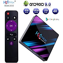 Android 9.0 TV Box , 4GB+64GB H96 MAX NEWEST Quad Core Smart TV Box Support USB 3.0/BT 4.0/2.4G/5G WiFi/3D/4K/H.265