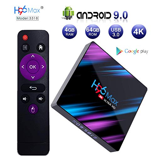 Android 9.0 TV Box, H96 MAX 4GB + 64GB RK3318 Quad