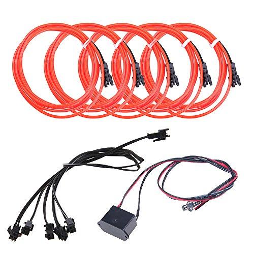 5pcs Neon Beleuchtung 1m EL Kabel Wire mit DC 12V Kontroller Flexibel Wasserdicht Innenbeleuchtung für Weihnachten Halloween Partys Kostüm Autos DEK