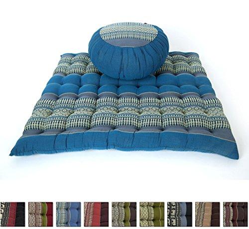 Set de Méditation Coussin Zafu, Tapis Zabuton, 76x72x25 cm, Kapok, Bleu Gris