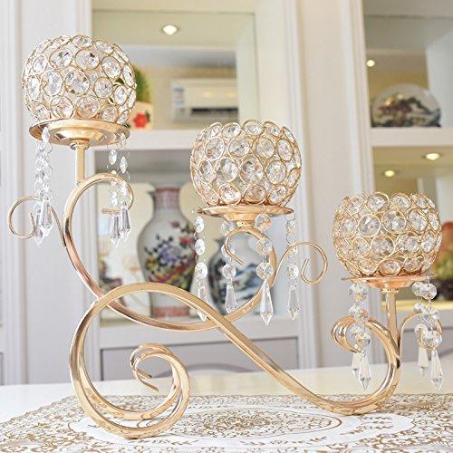 PEIWENIN-Europäische kreative Kerzenständer Laternen Kristall Kerze Kerzenständer Heimtextilien Restaurant Dekorationen, Gold -