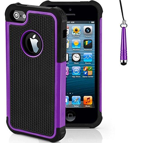 "Stoßfest Hülle/Case für Apple iPhone 6 / 6s (4.7"") / Absorberabdeckung & Displayschutzfolie / EJC Avenue / Orange Lila"