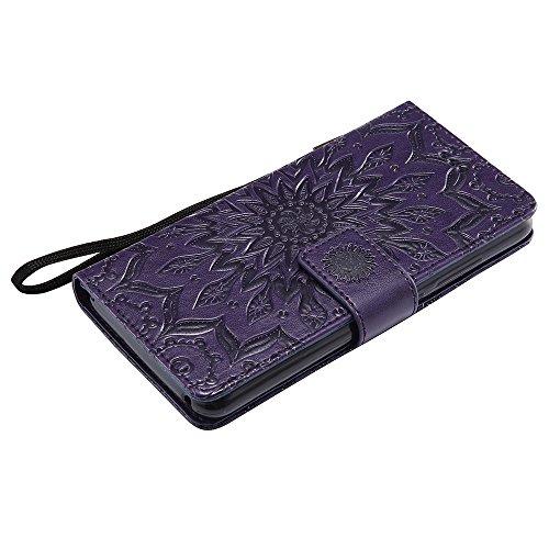 Pour Wiko Lenny 3 Case, Embossing Sunflower Magnetic Pattern Premium Soft Cuir en cuir PU Housse avec housse et porte-cartes ( Color : Red ) Purple