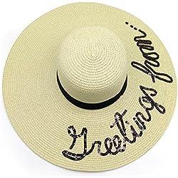 Hotaru Frauen-beiläufiger Sommer-Sonnenhut-verpackbarer im Freienkletternder Brown-Stroh-Floppy-Hut HAT005