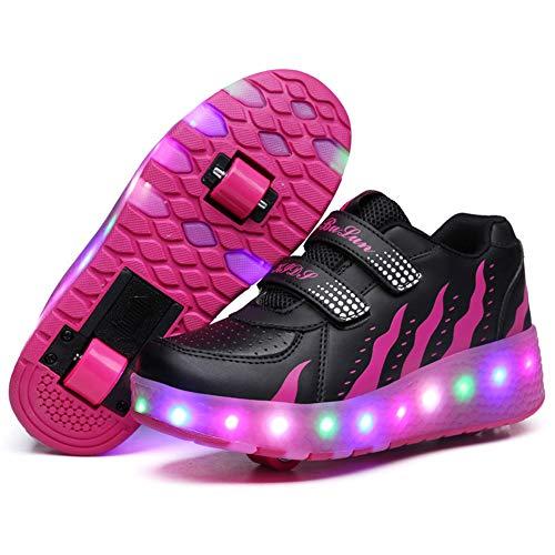 Kinderschuhe mit Rollen Skateboardschuhe LED Skate Schuhe Roller Skate Shoes Rollen Schuhe Skateboard Schuhe Schuhe mit Rollen Kinder Jungen Mädchen Schuhe Sneaker Sportschuhe mit Rollen ,Purple,38EU