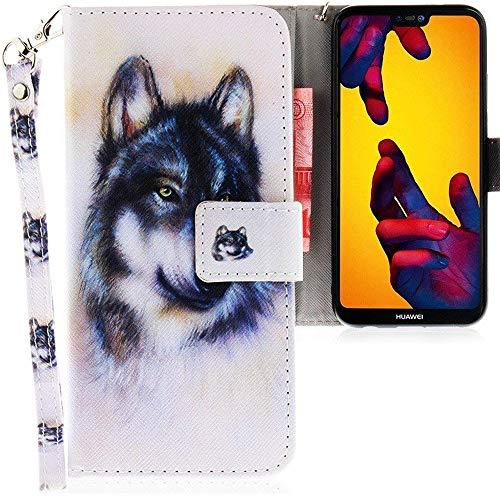 CLM-Tech Huawei P20 Lite Hülle, Tasche aus Kunstleder, PU Leder-Tasche Lederhülle, Wolf weiß Mehrfarbig
