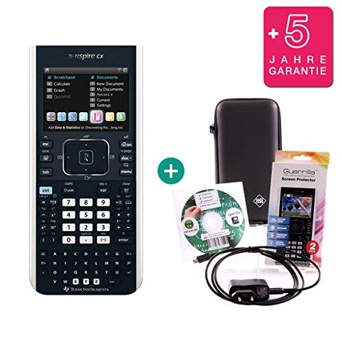 Texas Instruments Streberpaket: TI-Nspire CX + Erweiterte Garantie + Ladekabel + Schutzfolie + Lern-CD + Schutztasche