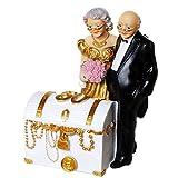 Spardose Polyresin Schatztruhe mit Brautpaar weiss gold 13x15,5cm