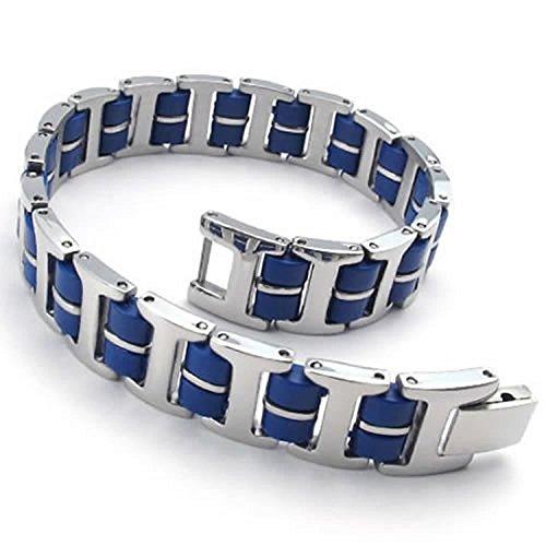 MENDINO da uomo in acciaio inossidabile gomma bracciale collegamento polso argento blu rettangolare lucido con (Rettangolare Bracciali)