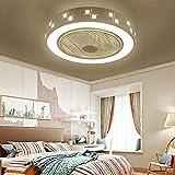Ganeep LEDDimmable Ventilador de techo de metal ligero redondo de techo lámpara ahorro de energía de silencio con control remoto creativo moderno dormitorio de la lámpara de oficina Restaurante Sala I
