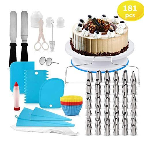 Nifogo decorazione la torta kit di utensili181pezzi di utensili da decorazione per della pasticceria professionale,borse ed ugelli per glassa, giradischi, unghie di fiori, fresa per dolci spatola