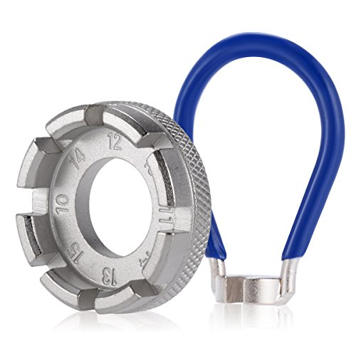 Ancirs bicicletta Tiraraggi - 6 in 1 bici raggi della ruota RIM Tool blu con tasca gauge, 10-15