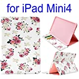 Pretty Roses Design Pattern. Wallet Style Side Flip Stand TPU+ PU Leather Case for iPad Mini 4. Slim Cover for iPad Mini 4. Stylish Case for Brand New 2015 iPad Mini 4 with Internal Card Slots. Purse, Wallet, Money Holder iPad Case. PU leather exterior + TPU inner case. Vintage Flower Floral Case for New Apple iPad Mini 4. Pink White Coloured Cover to fit Mini 4 [Pretty Roses]