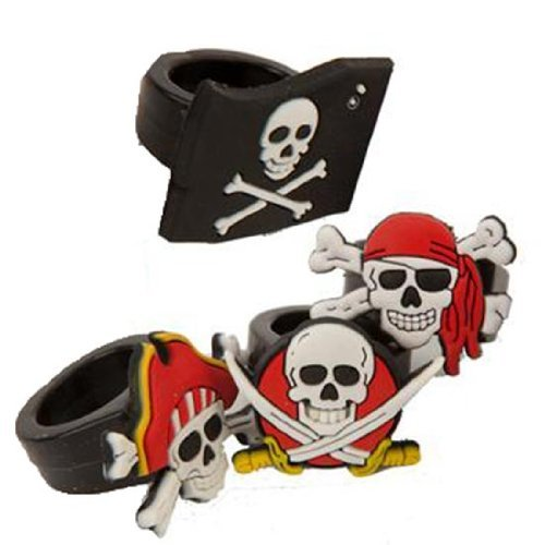 Classic Rubber Pirate Rings 12 Ct With Skull And Crossbones Design - Fun Part...