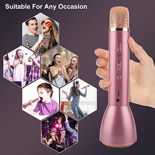 Bluetooth Mikrofon, Drahtlos Karaoke Mikrofon Batterie Mikrofon Kabellos Anlage mit Lautsprecher für Erwachsene Kinder die Aufnahme von Gesang und Sprache KTV Karaoke Player kompatibel PC, Laptop, iPhone, iPod, iPad, Android Smartphon - 2