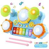 SGILE Gioco Musicale Tastiera per Bambini, Tamburo e Pianoforte con Adorabili Suoni, Giocattolo Tamburo a Mano, Giocattolo Educativo Prima Infanzia, Strumenti Musicali Regalo di Natale