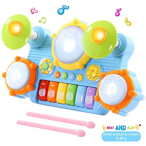 SGILE Spielzeug Klavier Keyboard Kinderpiano mit Trommel, Babyspielzeug mit Musik und Lichter, Elektrisches Musik Tastatur Spielzeug, Musikalische Früherziehung Geschenk für Babys und Kleinkinder (Kleinkind-klavier)