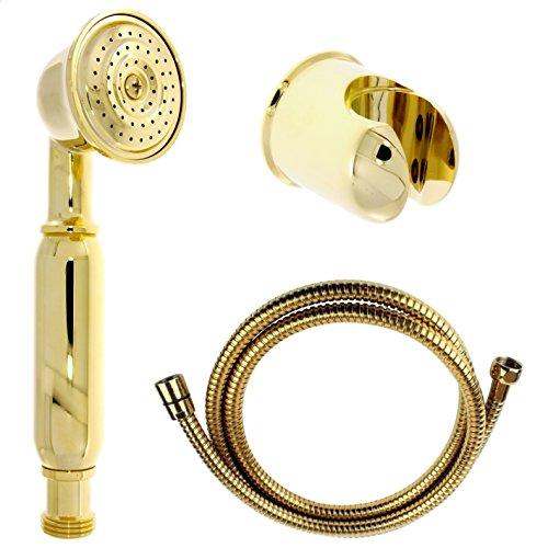 Nostalgie Retro Handbrause / Brause / Brausekopf / Duschkopf mit Brauseschlauch und Brausehalterung aus Messing mit gold Oberfläche