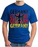 OM3 - GERMANY - T-Shirt DEUTSCHLAND EM 2016 FRANKREICH FRANCE FUSSBALL FANSHIRT SOCCER CUP SPORT TRIKOT EUROPAMEISTER, L, royalblau