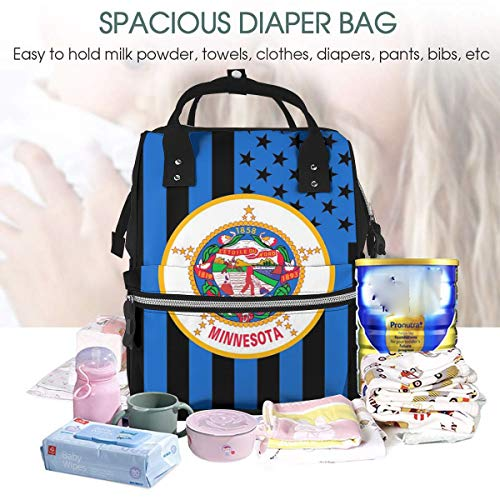 UKFaaa Large Diaper Bag Backpack,Minnesota State Flag Graphic USA Styling Diaper Bag Backpack Waterproof Travel Mummy Nappy Bags -