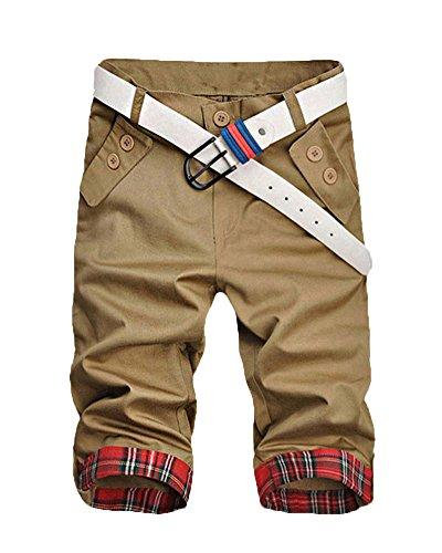 Herren Bermudas Shorts Vintag Kurze Hose Kariert Knielang Reine Farbe Sport-Shorts Slim Fit Lässige Shorts Tan XL