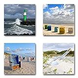 Ostsee Nordsee - Set C schwebend, 4-teiliges Bilder-Set je Teil 29x29cm, Seidenmatte moderne Optik auf Forex, UV-stabil, wasserfest, Kunstdruck für Büro, Wohnzimmer, XXL Deko Bild