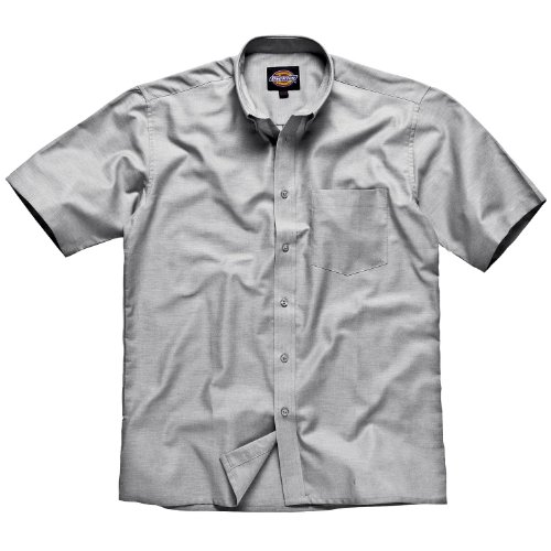 Dickies Mens Workwear Oxford Weave Short Sleeved Shirt Silver Grey silbergrau