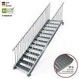 Außentreppe 13 Stufen 100 cm Laufbreite - beidseitiges Geländer - Anstellhöhe variabel von 216 cm bis 260 cm - Gitterroststufe ST3 - feuerverzinkte Stahltreppe mit 1000 mm Stufenlänge als montagefertiger Bausatz