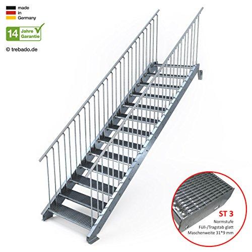 Au/ßentreppe 2 Stufen 80 cm Laufbreite ohne Gel/änder feuerverzinkte Stahltreppe mit 800 mm Stufenl/änge als montagefertiger Bausatz Anstellh/öhe variabel von 29 cm bis 44 cm Gitterroststufe ST1