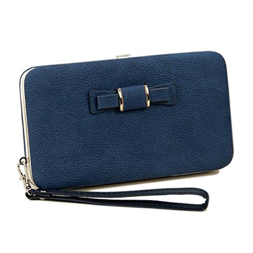 Frauen-Bowknot-Mappen-lange Geldbeutel-Telefon-Karten-Halter-Kupplungs-große Kapazitäts-Tasche Blauer Himmel Blau