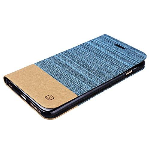 HB-Int Hülle für iPhone 6 Plus / 6S Plus Canvas Handy Schutzhülle Kunstleder Klapphülle mit Kartenfach und Ständer Spleiß Design Braun PU Leder Flip Case Klapp Etui Holster - Hellblau Hellblau