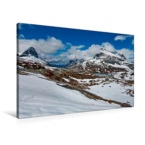 Premium Textil-Leinwand 90 cm x 60 cm quer, Gebirgssee | Wandbild, Bild auf Keilrahmen, Fertigbild...