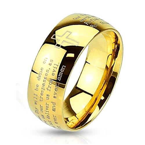 Bungsa® 60 (19.1) Goldring Kreuz & Gebetstext graviert Edelstahl Damen & Herren 49-70