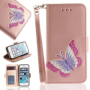 Gelusuk iPhone 5/5S/SE Hülle,iPhone 5/5S Schutzhülle,Slim 2 in 1 Dual Use PU Leder Flip Cover Standfunktion Karteneinschub Wallet Case Folio Leder Hülle Brieftasche im BookStyle Handy Tasche